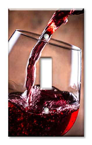 (Art Plates 1 Gang Toggle Wall Plate - Pouring Red Wine)