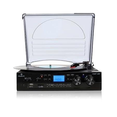 AUNA TT-186E Equipo estéreo Tocadiscos - Funcionamiento por correa, Máx. 45rpm, Altavoces integrados, Sintonizador Radio, USB, Digitalización, Mando a ...