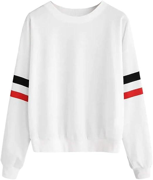 Camisetas de Manga Larga para Mujer, a la Moda, con Rayas esponjosas, para Retazos, suéter - Blanco - X-Large: Amazon.es: Ropa y accesorios