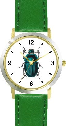 japanese-beetle-insect-animal-watchbuddy-deluxe-two-tone-theme-watch-arabic-numbers-green-leather-st
