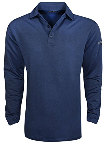 - Callaway Men's Golf Performance Heathered Long Sleeve Polo Shirt, Blue, X-Large