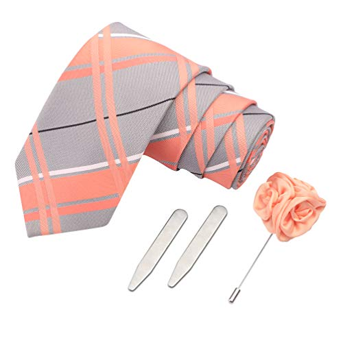 Peluche The Flush Feat Gift Box Includes 1 Neck Tie, 1 Brooch & 1 Pair of Collar Stays for Men