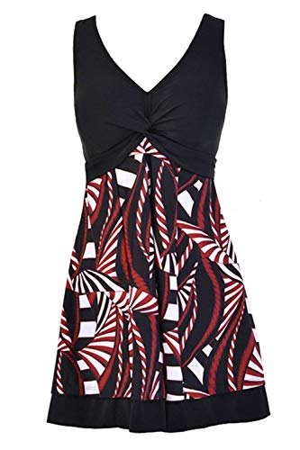 (Ecupper Womens One Piece Shaping Body Floral Swimwear Plus Size Sleeveless Swimdress with Boyshort Black XL)