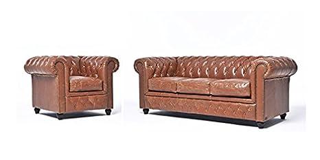 Conjunto Sofás Chester Vintage - Moca - 1/3 plazas ...