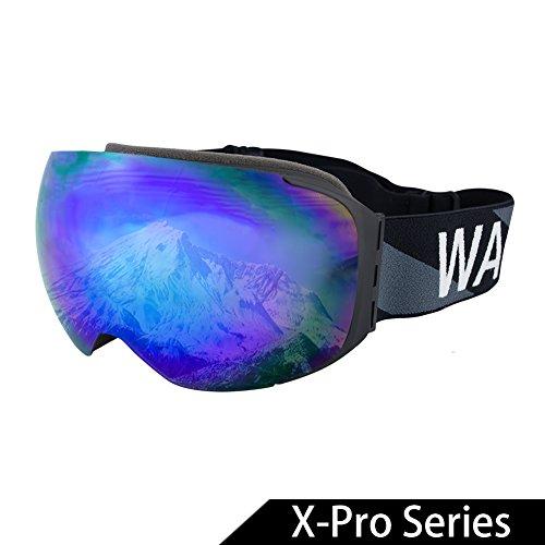 WACOOL Multicolor Professional Snowboard Skate Ski Goggles (X-Pro Series Magnetic Revo - Revo Vintage