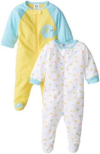 Gerber Unisex Baby 2 Pack Zip Front Sleep 'N Play, Elephant, 0-3 Months