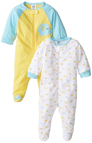 Gerber Unisex Baby 2 Pack Zip Front Sleep 'N Play, Elephant, Newborn