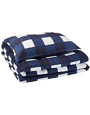 AmazonBasics Comforter Set, Twin / Twin XL, Navy Oversized Gingham, Microfiber, Ultra-Soft