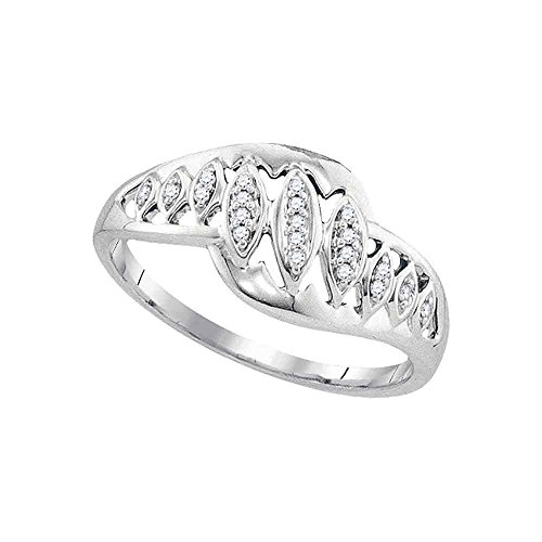 - Diamond Leaf Ring Solid 10k White Gold Marquise Band Round Pave Set Fashion Style Polished Fancy 1/20 ctw