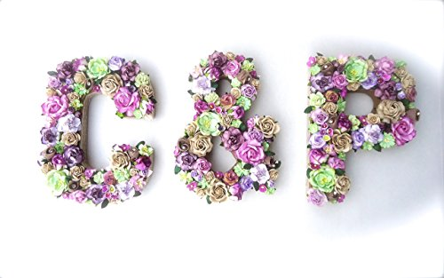 Paper Flower Initials for Couples in Color Choice Designed with Handmade Mulberry Paper Flowers