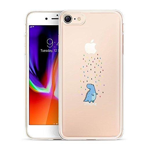 iPhone 8 Case, Unov iPhone 7 Case Clear with Design Embossed Pattern TPU Soft Bumper Shock Absorption Slim Protective Cover for iPhone 8 iPhone 7 4.7 Inch(Rainbow Shower) (Kawaii Animal Cute Anime)