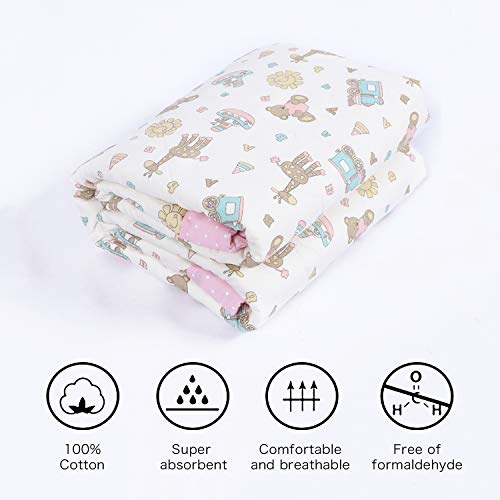 Designthology Toddler and Baby Quilt, 100% Cotton Lightweight Thermal Baby Blanket - Soft & Warm Crib Blanket for All Seasons, Decoration Gift - Cute Animal Pattern, Pink Bear & Giraffe (47