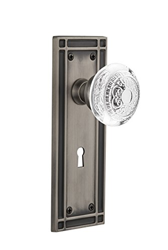 Unlaquered Brass 2.375 Backset Size Nostalgic Warehouse 752075 New York Plate with with Keyhole Crystal Meadows Knob Privacy