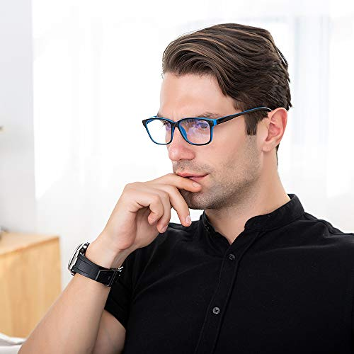 Blue Light Blocking Computer Glasses 2 Pack Decrease Eye Eyestrain Unisex(Women/Men) Glasses with Spring Hinges Nerd Reading Gaming Glasses