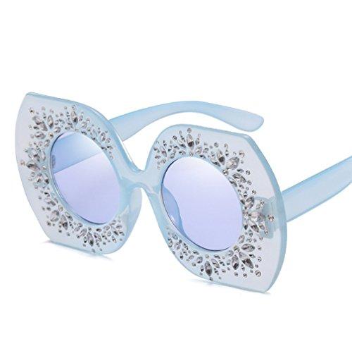 Lunettes Bleu Lunettes ZYXCC Soleil Diamond Femmes Vintage Soleil clair Lunettes YANJING pour Personnalité Soleil de Box Irrégulières de de Soleil Lunettes Big de wpxqX4xS