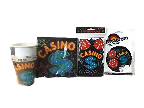 Casino Night Paper Products Party Kit Bundle - 4 Items: Cups, Invitations, Balloon and Napkins