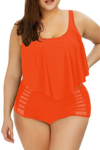Sovoyontee Women Neon Orange Ruffle Flounced High Waisted Plus Size Swimwear Size 14 XL