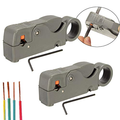 2Pcs RG6/59 Double Blades Fully Adjustable Wire Stripper Cutter Cable Stripping Tool