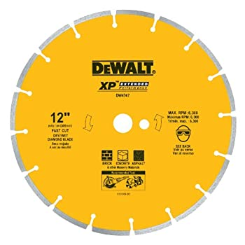 Image of DEWALT DW4747 XP 12-Inch Dry Cutting Diamond Segmented Saw Blade with 1-Inch Arbor for Asphalt, Brick, and Concrete Home Improvements
