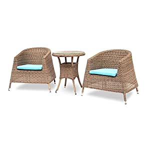 Island Gale 3PCS Patio Bistro Set Hand Woven Round Synthetic Rattan Outdoor Dining Set Living Room Furniture with Chairs and Table