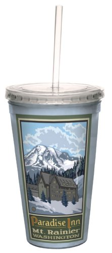 Tree-Free Greetings cc33101 Scenic Mount Rainier Washington Paradise Inn by Paul A. Lanquist Artful Traveler Double-Walled Cool Cup with Straw, 16-Ounce
