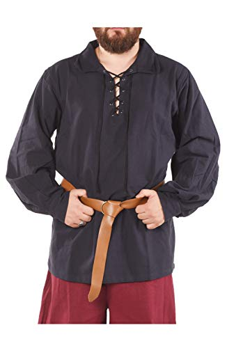 byCalvina - Calvina Costumes Alfred Medieval Viking LARP Jacobite Ghilli Pirate Men's Unisex Shirt - Made in Turkey,Dark Blue, L for $<!--$34.99-->