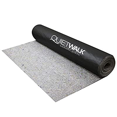 MP Global Products QW100LV QuietWalk Acoustical Underlayment with Vapor Barrier for Luxury Vinyl Plank Flooring, 100 sq ft, Black