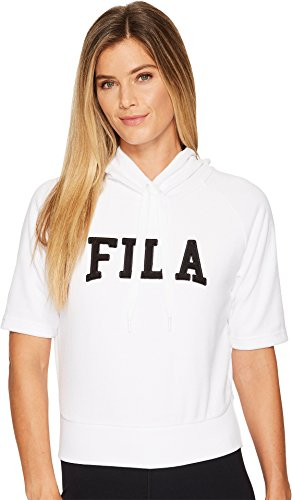 (Fila Women's Ariana Short Sleeve Hoody, White, Black, L)