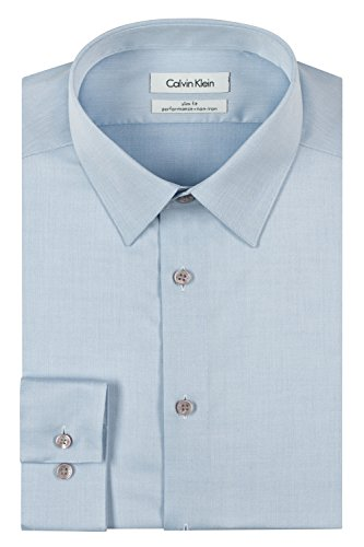 Calvin Klein Men's Slim Fit Non-Iron Herringbone Point Collar Dress Shirt, Blue 17