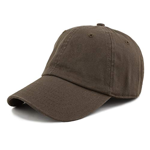 48609b38d0d THE HAT DEPOT 300N Washed Low Profile Cotton and Denim Baseball Cap (Dark  Brown)