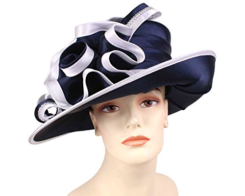 Price comparison product image Ms Divine Women's Satin Year Round Church Dress Formal Hats HL47 (Navy / White)