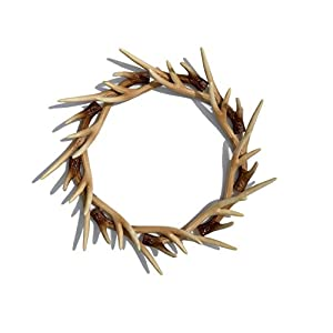 Faux Deer Antler Front Door Wreath, Faux Buckhorn Wreath, Deer Antler Decor, Farmhouse Wedding Wreath, Deer Wall Decor, Wall Hanger 1