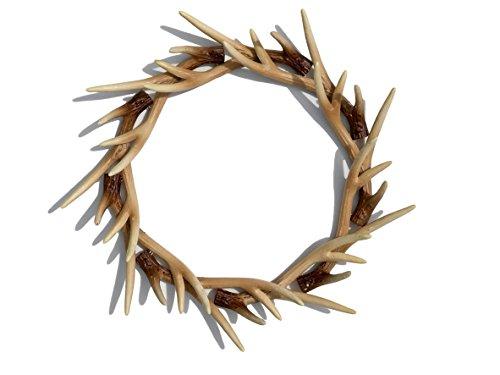 Faux Deer Antler Front Door Wreath, Faux Buckhorn Wreath, Deer Antler Decor, Farmhouse Wedding Wreath, Deer Wall Decor, Wall Hanger]()