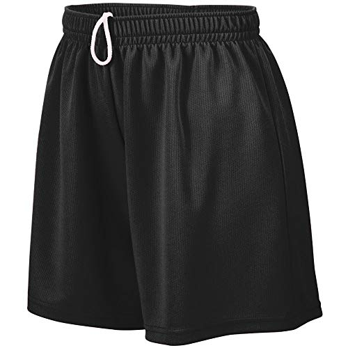 Augusta Sportswear Teen-Girls Wicking Mesh Short, Black, Medium ()