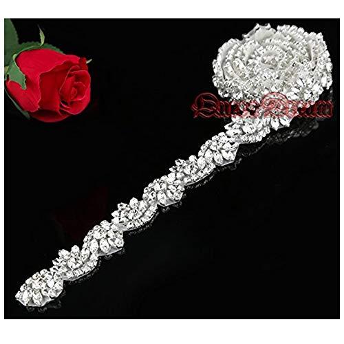 QueenDream Fashion 1 Yard Crystal Rhinestone Applique Manufactoring Price Sash Rhinestone Supply Handmade Wedding Dress Belt Diamond Applique