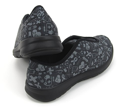 Florence Gray Icons Black Move Cute Women's with Memory Shoes With Nursing Foam Designs Printed Hospital BqSag
