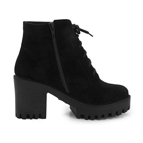 High Boots Suede Heel Lace Toe LongFengMa Black Closure Women's Ankle Zipper Round Square Up aCI7x