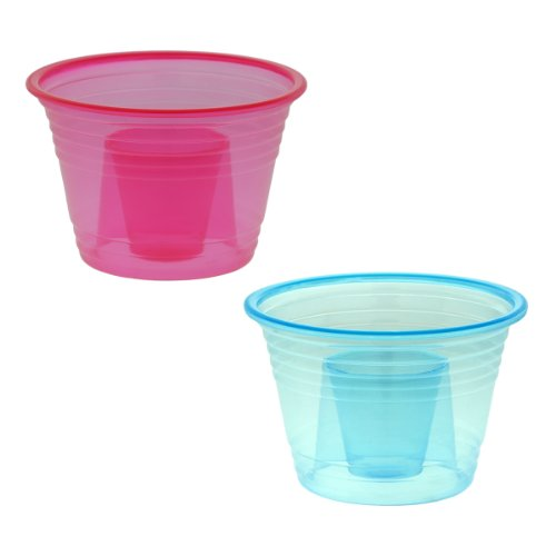 50-assorted Neon Colors Disposable Plastic Party Bomber Power Bomber Jager Blaster Bomb Glasses Shot Glass Red & Blue Shot Cups]()