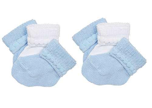 Trimfit Baby Cotton Infant Bootie (Pack of 6), Blue/White, L