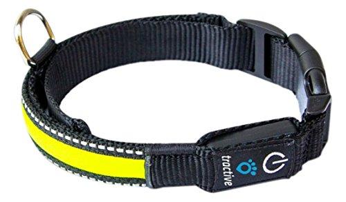 Tractive LED Dog Collar, Medium, Yellow