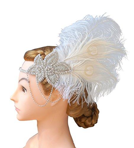 Costume Annees 20 (Blank K Rhinetones Feather Headband Annees 20 Flapper Dress 1920s Headband Great Gatsby Headpiece)