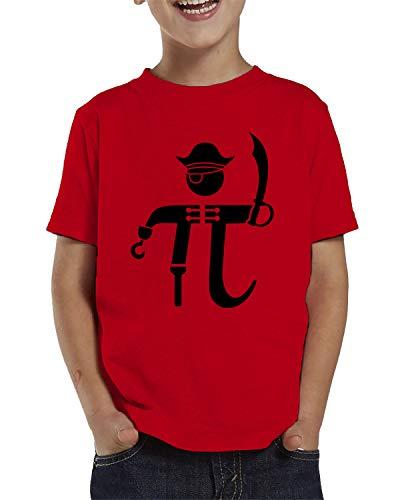 SpiritForged Apparel Pi-Rate Pirate Math Symbol Toddler T-Shirt, Red 5T/6T -