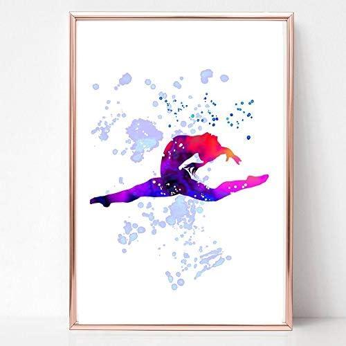 GFC POSTER ART PRINT PICTURE a4 unframed gymnastics girl jumping splits