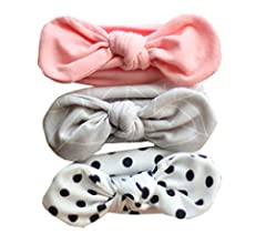Ecroon Baby Girl Cotton Headbands Newborn Infant Toddler Hairbands and Bows Child Hair Accessories Gift 3Pcs//Set