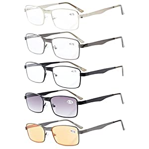 5-pack Eyekepper Rectangle Metal Frame Spring Hinges Reading Glasses Include Computer Readers +1.0