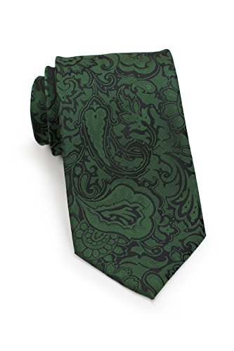 Forest Green Tie - Bows-N-Ties Men's Necktie Vibrant Paisley Microfiber Satin Tie 3.25 Inches (Forest Green)