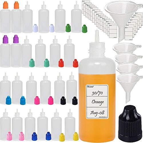 25pcs 50ml Squeeze Bottle Dispenser TIP Dropper Bottles in Mixed Colors LDPE Plastic (25, 50ML)
