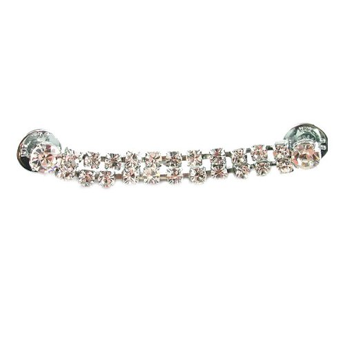 Mode Beads 2-Row Rhinestone Pin/Buckle with Crystal/Imitation Rhodium Plated Setting, (Imitation Rhodium Plated)