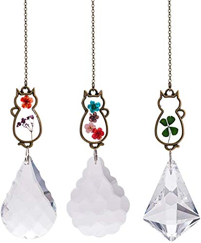 WEISIPU 3PCS Crystal Suncatcher - Embedded Pressed Flower Cats Hanging Pendant Prism Window Decorations Suncatchers for Window, Garden, Home Decoration, Christmas Decoration (3pcs Cats)