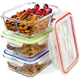 Glass Meal Prep Containers - 3-Pack 3 Compartment Food Storage Containers with Leak Proof Sauce Cups and Label Set - Microwave, Freezer, Oven & Dishwasher Safe (3, 3 Compartment with Utensils)
